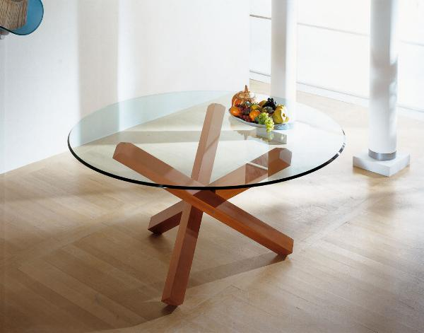 Tavoli da salotto con base in legno e piano in vetro Tavoli da salotto
