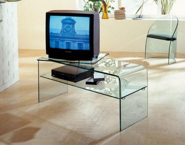 Porta Tv Vetro E Acciaio.Porta Tv In Vetro Tube Cm 120 X 35 X H 38