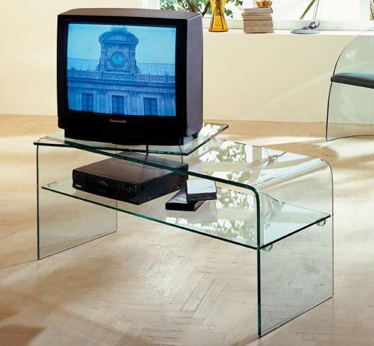 Porta tv porta tv calais porta tv porta tv in cristallo trasparente curvato e disponibile - Porta televisore in vetro ...