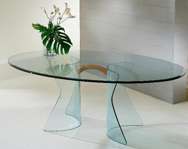 Tavolo in cristallo tavolo new york tavolo in cristallo for Tavolo ovale sala da pranzo
