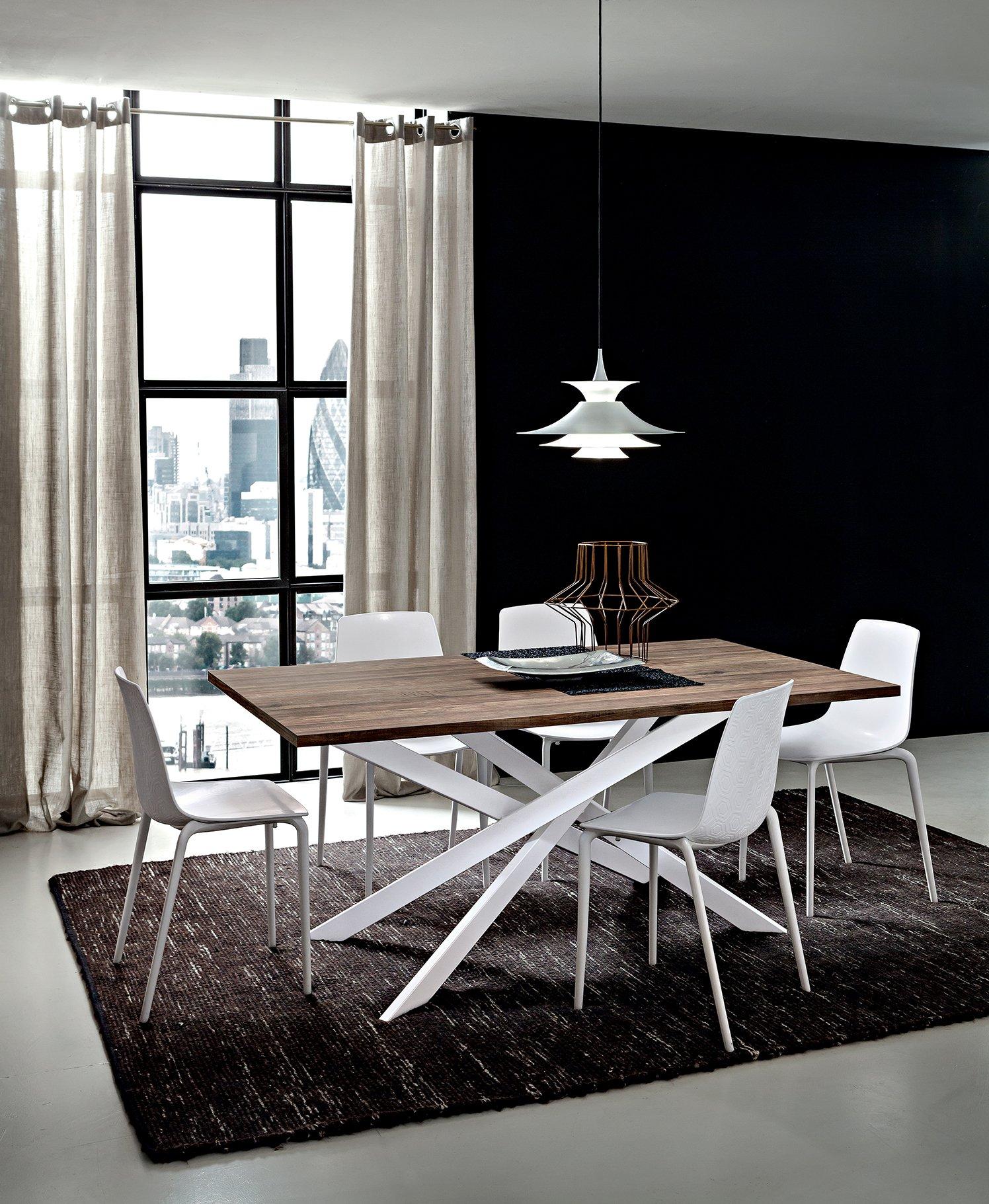 Sala da pranzo Tavolo Renzo piano in legno Noce Vintage HPL