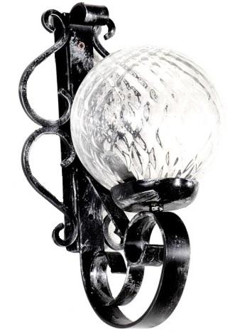 Applique in ferro battuto lavorato a mano.Sfera in vetro ...