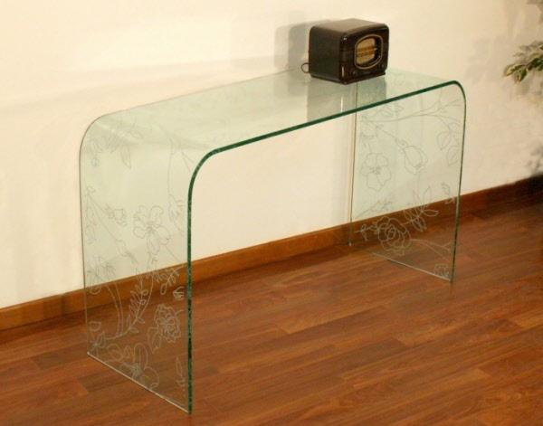 Arredamento tavolo consolle in vetro tavolo consolle menphis for Consolle di cristallo