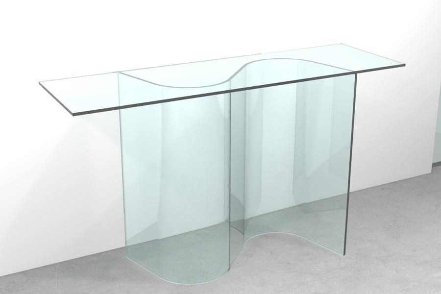 Consolle vetro curvato esse for Consolle ingresso vetro