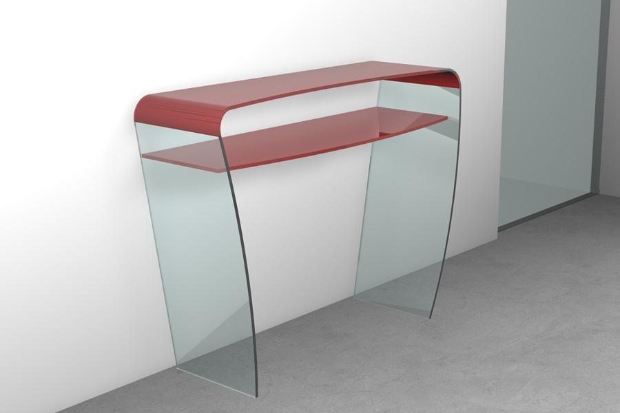 Consolle vetro consolle in vetroo curvato con ripiano for Consolle vetro