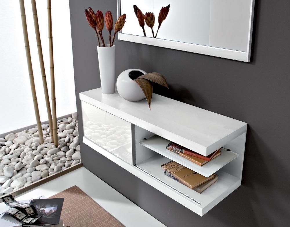 Mobile consolle in legno ripiano in vetro e anta scorrevole for Consolle arredamento moderno