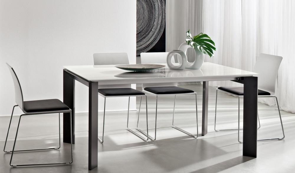 Tavolo da pranzo salotto cucina in legno con piano in for Tavoli soggiorno cristallo allungabili