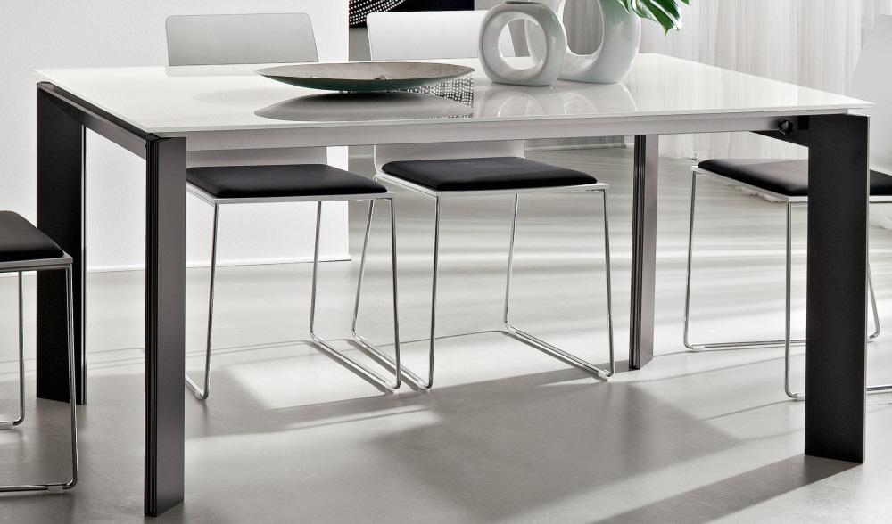 Tavolo da pranzo salotto cucina in legno con piano in vetro o legno tavolo kevin fisso - Tavolo allungabile vetro ikea ...