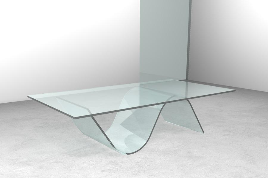 Tavolino In Vetro Trasparente Da Salotto Design Piedi Acciaio Lucido ...