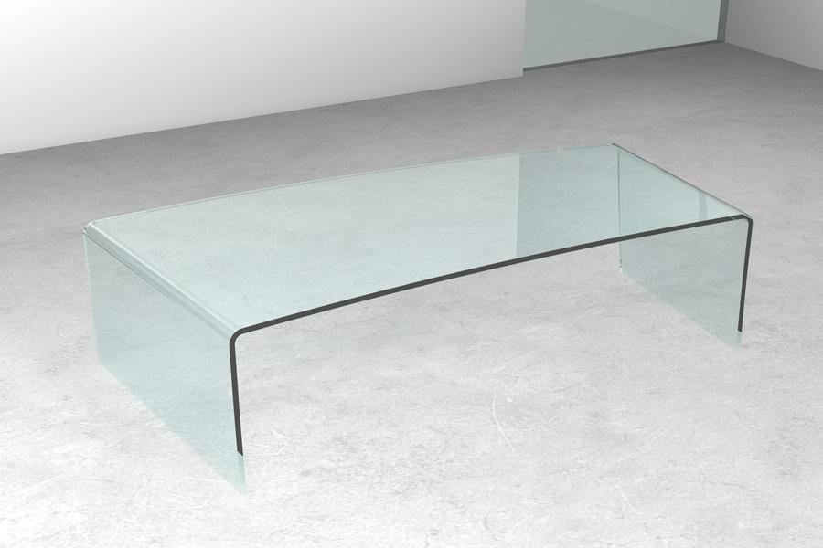 Tavolino in vetro Banana Tavolino in vetro curvato sagomato da salotto