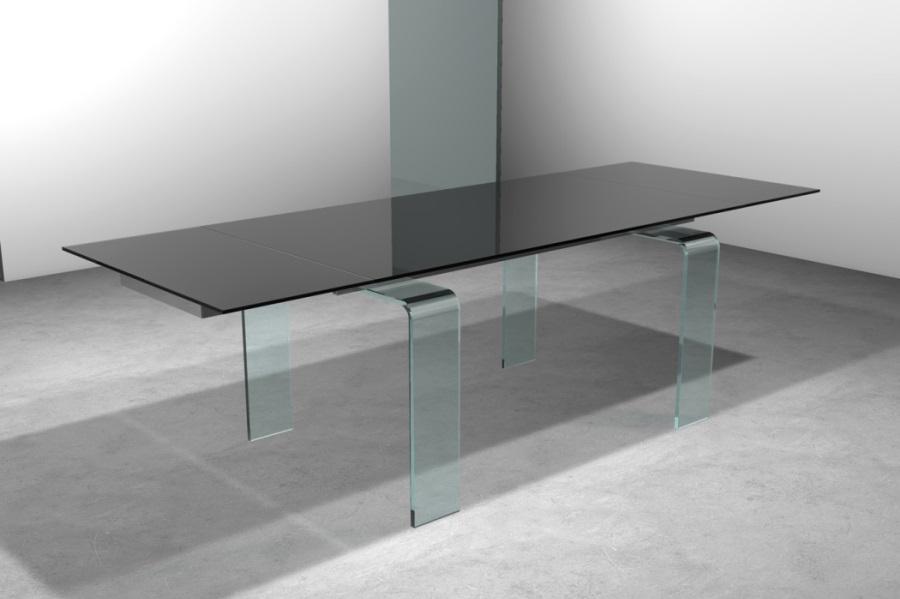 Tavolo vetro trasparente allungabile for Tavolo quadrato allungabile vetro
