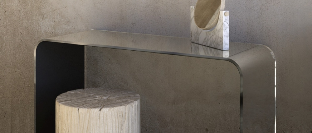 Consolle vetro Ponte. Tavolo Consolle vetro Ponte. Cm 80 x 40 x h.72