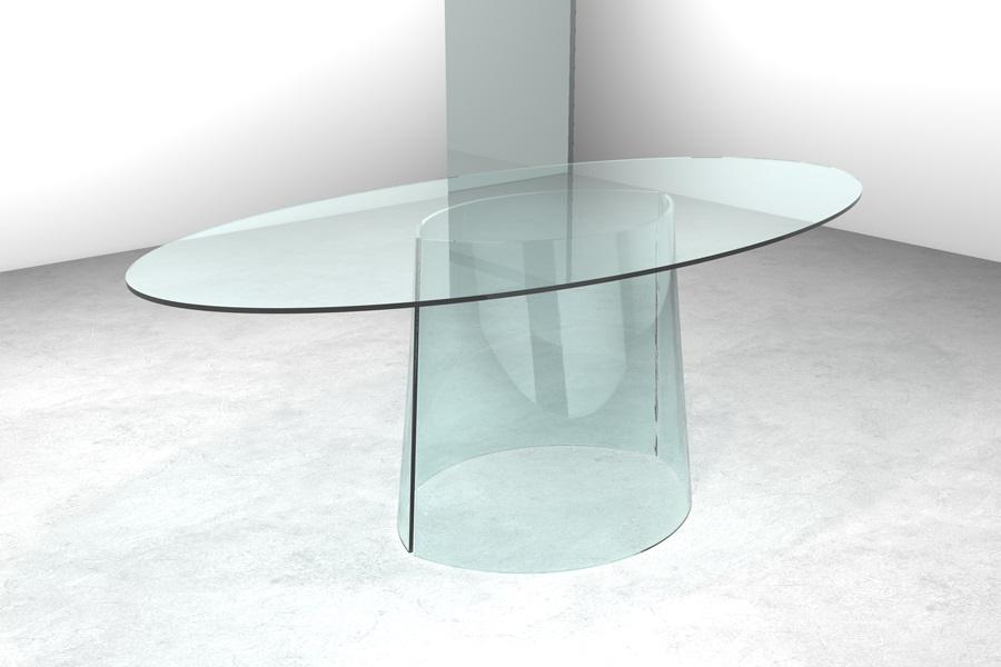 Tacolo in cristallo Cono Tavolo in cristallo con basi sagomate Cono