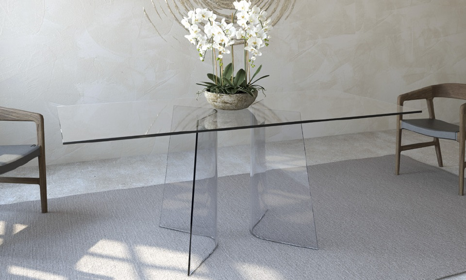 Tavolo vetro vendita tavoli cristallo moderno prezzi sconti for Tavolo riflessi cristallo