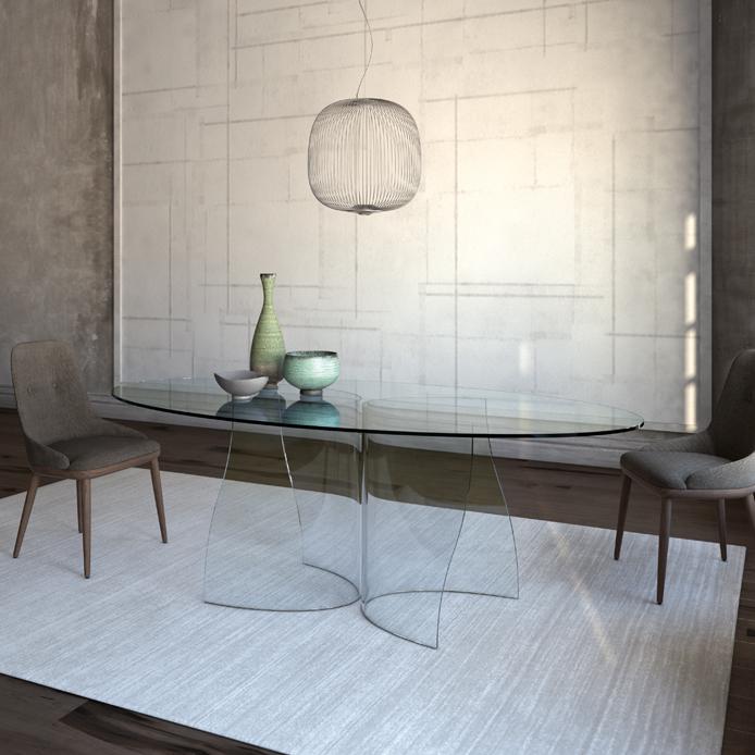 Tavolo ovale in vetro best totem c tavolo ovale con base - Tavolo di vetro ovale ...