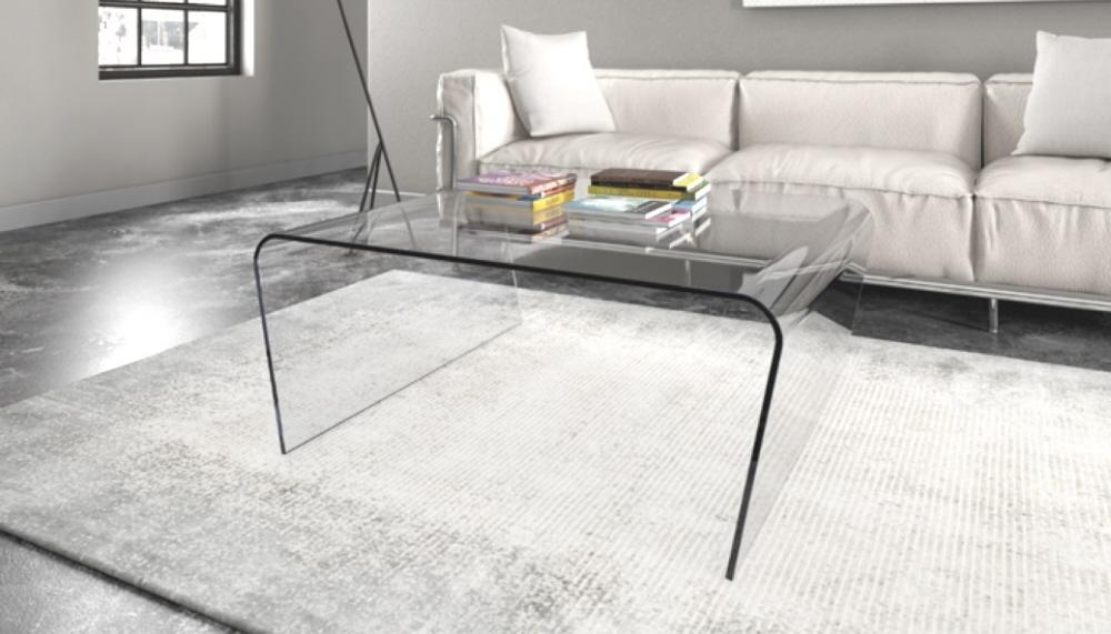 Tavolini in vetro design tavolino in vetro curvo sagomato - Linea azzurra mobili ...