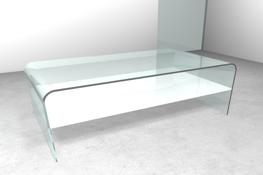 Tavolino in vetro curvato rettangolare Tavolino in vetro Gambe ...