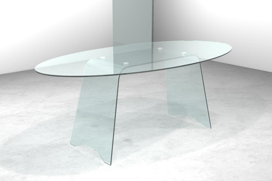 Tavolo in cristallo con basi curvate tavolo gambe oblique for Tavolo pranzo trasparente