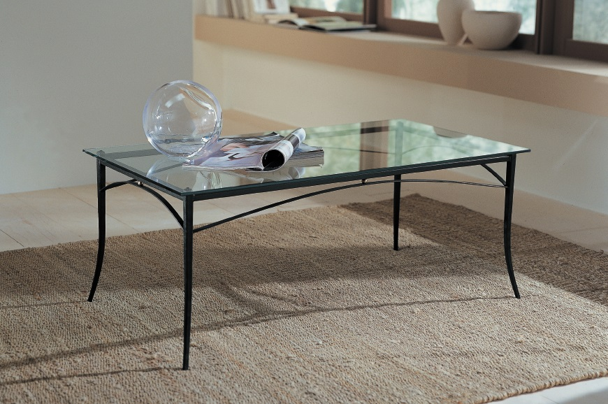 Tavoli da salotto classici in ferro battuto acciaio e vetro - Tavolo ferro battuto e vetro ...