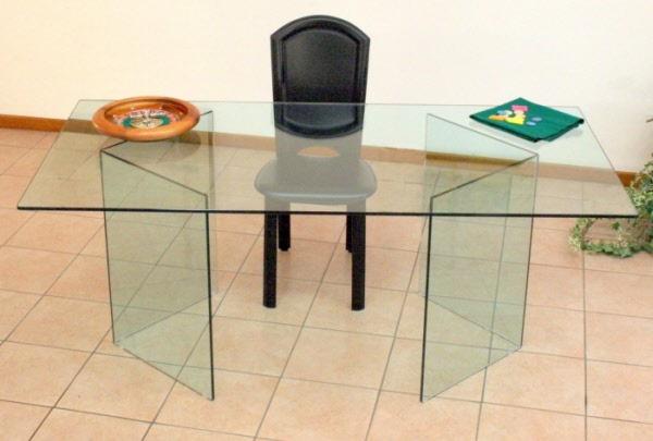 Tavoli Con Gambe Di Vetro : Tavolo corner tavolo in cristallo trasparente con coppia di gambe