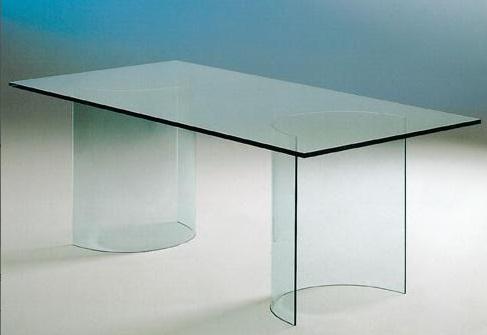 Tavolo in cristallo trasparente tavolo twin tavolo in cristallo trasparente con coppia di gambe - Tavolo pranzo vetro ...