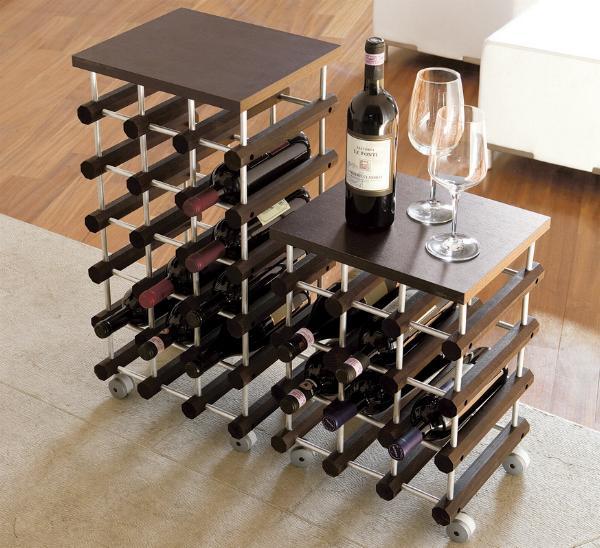 Portabottiglie wine portabottiglie per vino la cantinetta modulare ed elegante su ruote gommate - Portabottiglie di vino in legno ...