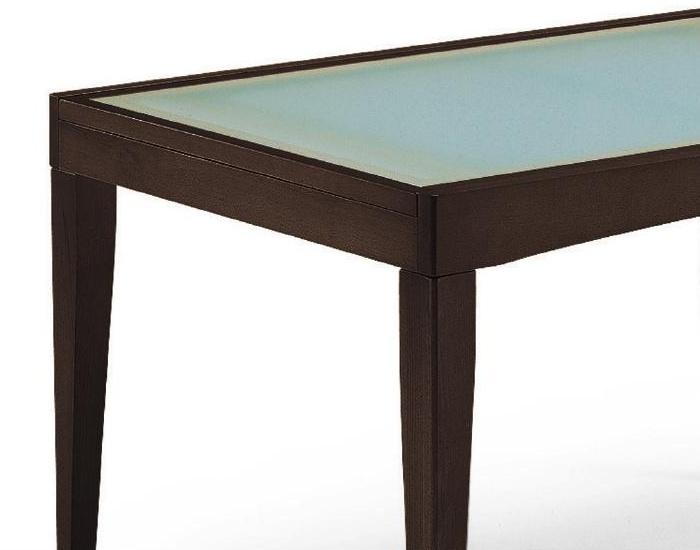 Il tavolo piano vetro da cucina in legno Davos