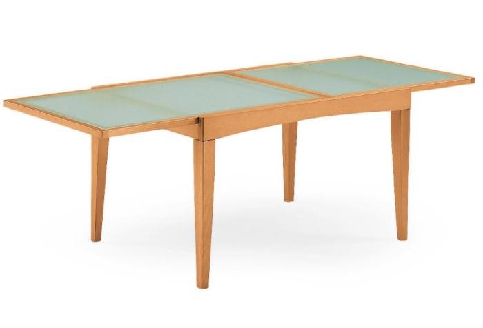 Il tavolo piano vetro da cucina in legno davos - Tavolo legno vetro allungabile ...