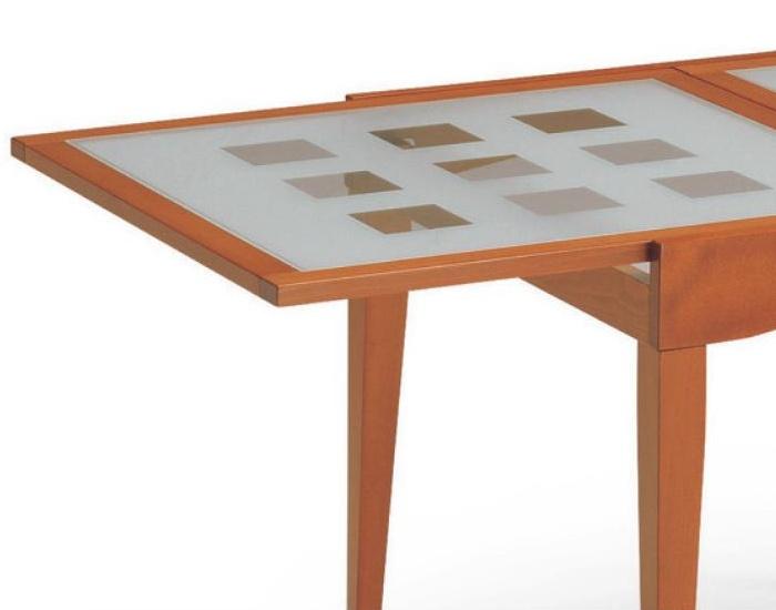 Tavolo con piano in vetro Davos in legno di faggio